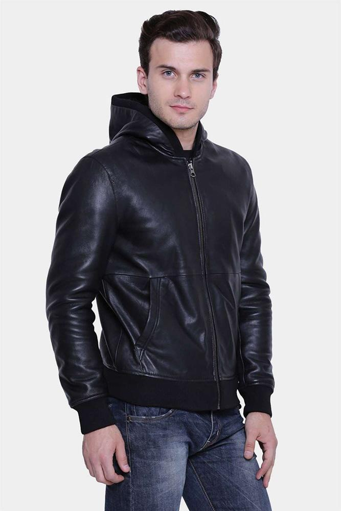 mens brooks black hooded leather jacket 1