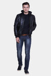 mens brooks black hooded leather jacket 3