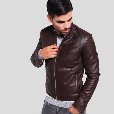 mens brown leather racer jacket mark 1