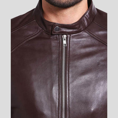 mens brown leather racer jacket mark 2