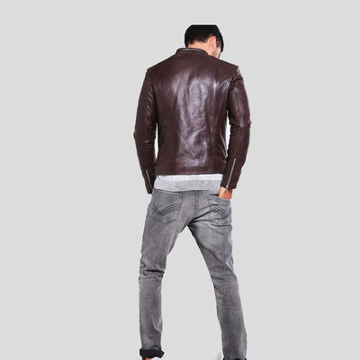 mens brown leather racer jacket mark 5