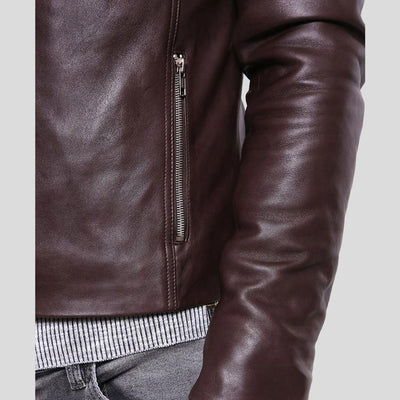 mens brown leather racer jacket mark 3