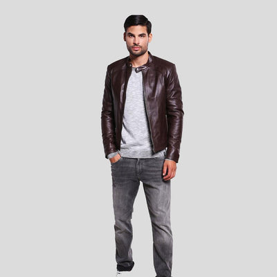 mens brown leather racer jacket mark 4