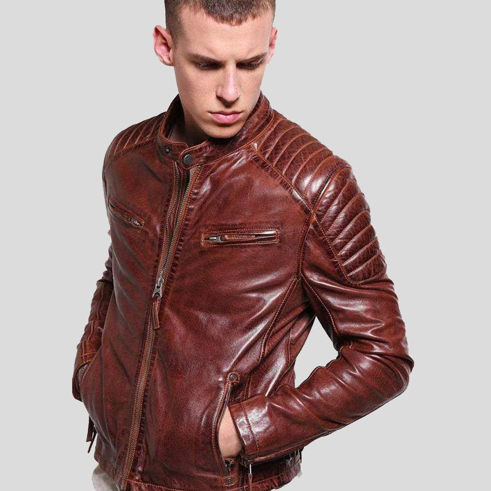 mens brown leather racer jacket rowan 2