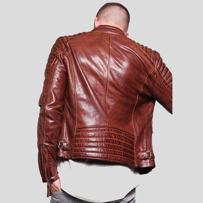 mens brown leather racer jacket rowan 5