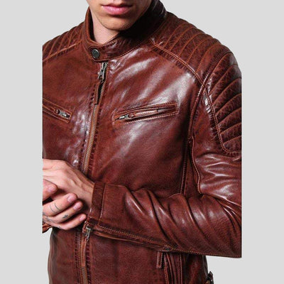 mens brown leather racer jacket rowan 4