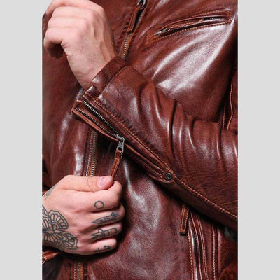 mens brown leather racer jacket rowan 3