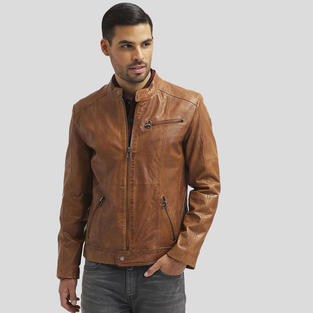 mens brown leather racer jacket waylon 1
