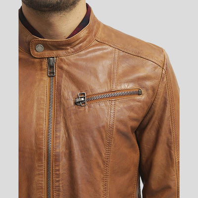 mens brown leather racer jacket waylon 2