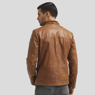 mens brown leather racer jacket waylon 4