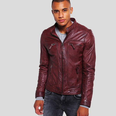 mens burgundy leather racer jacket august 1