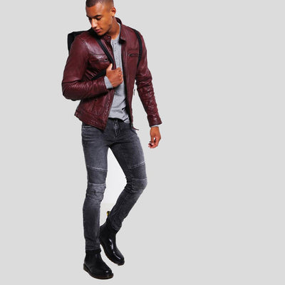 mens burgundy leather racer jacket august 4