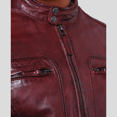 mens burgundy leather racer jacket august 6