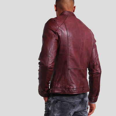 mens burgundy leather racer jacket august 3