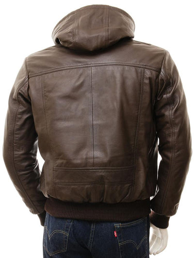 mens corbin brown hooded leather jacket 3
