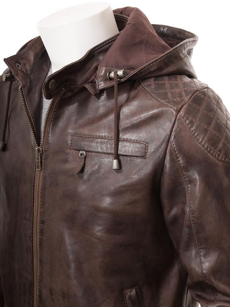 mens erick brown hooded leather jacket 1