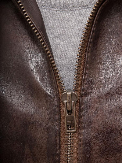 mens erick brown hooded leather jacket 3