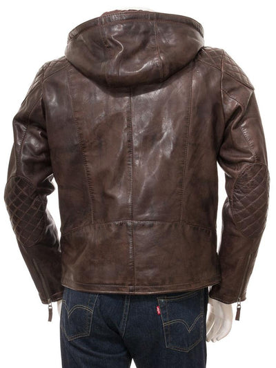mens erick brown hooded leather jacket 4