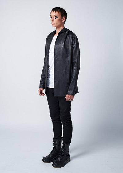 hooded leather jacket iker black 2