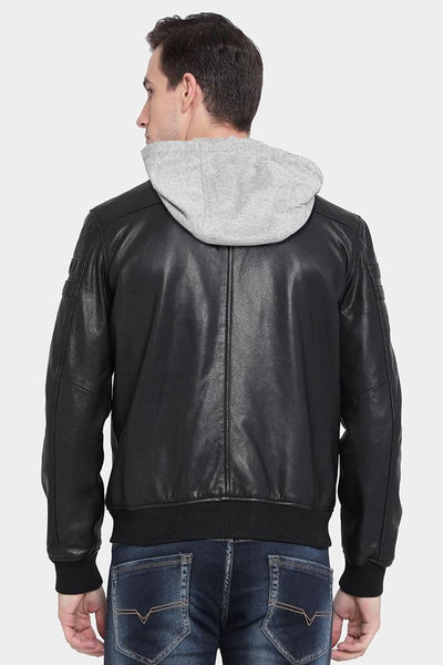 mens jake brice black hooded leather jacket 4