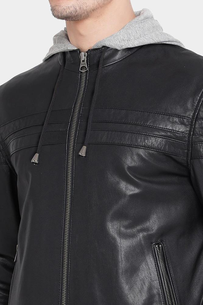 mens jake brice black hooded leather jacket 1