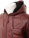 mens javier red hooded leather jacket 2