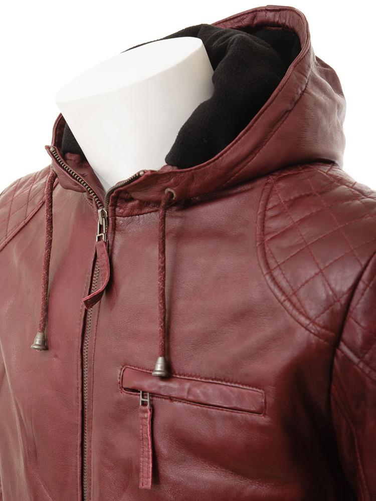 mens javier red hooded leather jacket 1