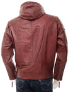 mens javier red hooded leather jacket 4