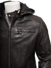 mens knox black hooded leather jacket 2