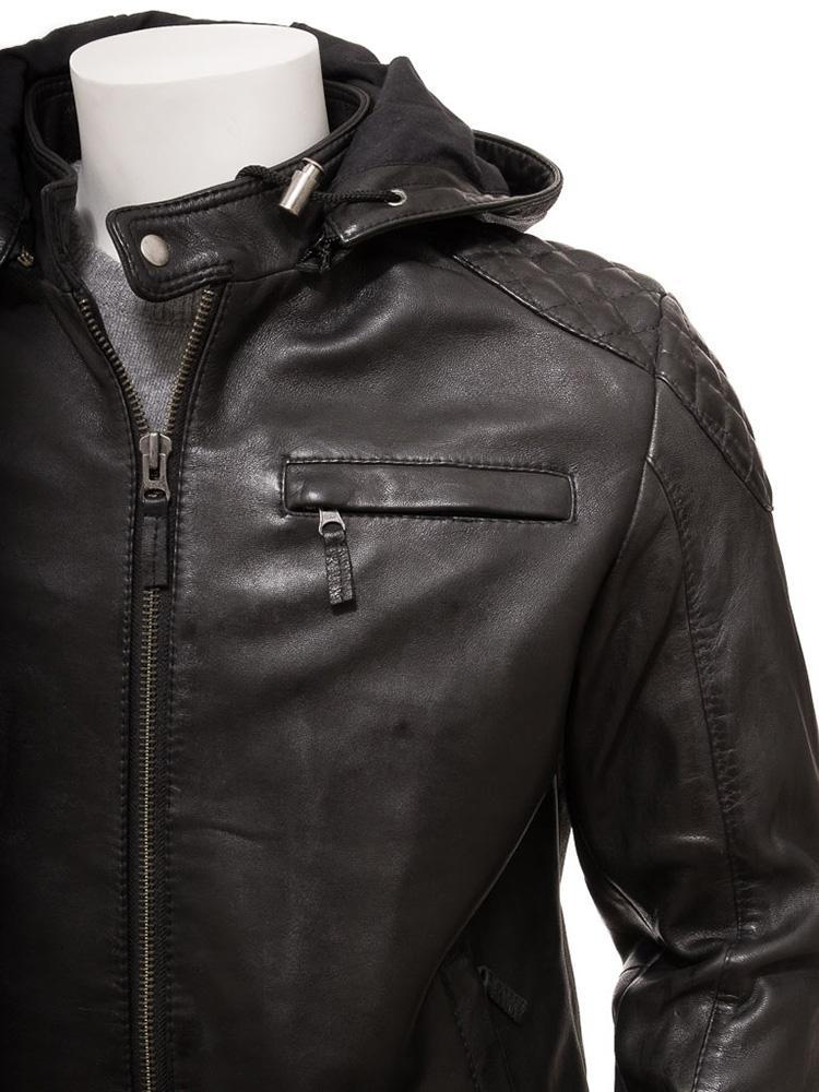 mens knox black hooded leather jacket 1