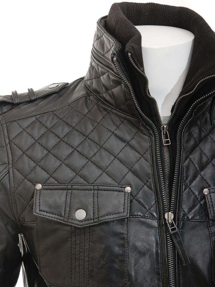 knox  black quilted leather jacket 1