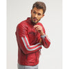 milo red quilted leather jacket 1