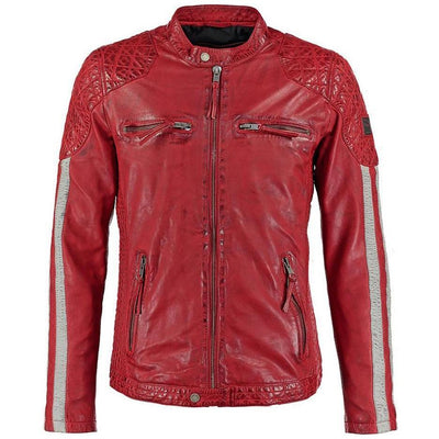 milo red quilted leather jacket 5