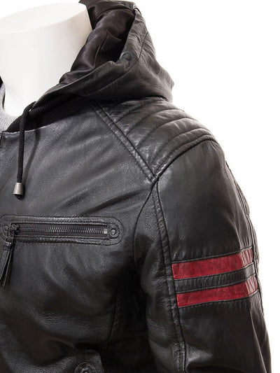 mens simon black hooded leather jacket 2