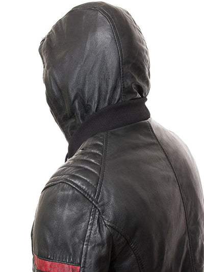 mens simon black hooded leather jacket 3