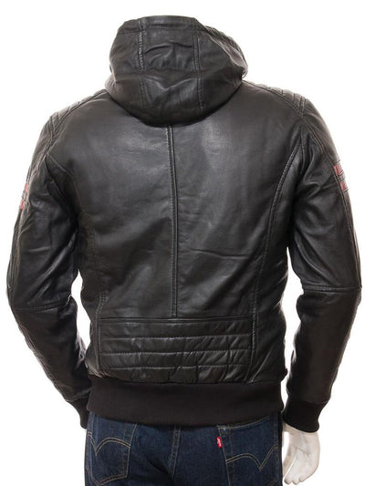 mens simon black hooded leather jacket 5
