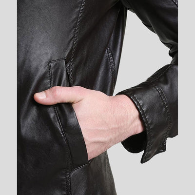 mens black leather racer jacket william 3
