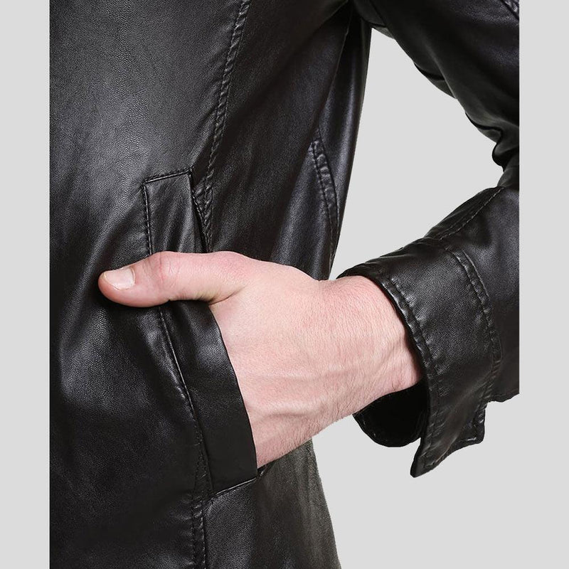 mens black leather racer jacket william 1