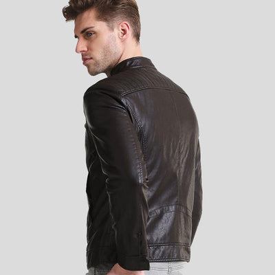 mens black leather racer jacket william 4