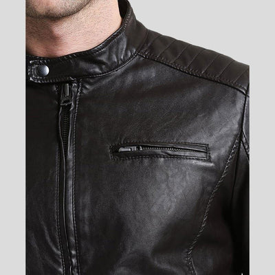 mens black leather racer jacket william 2