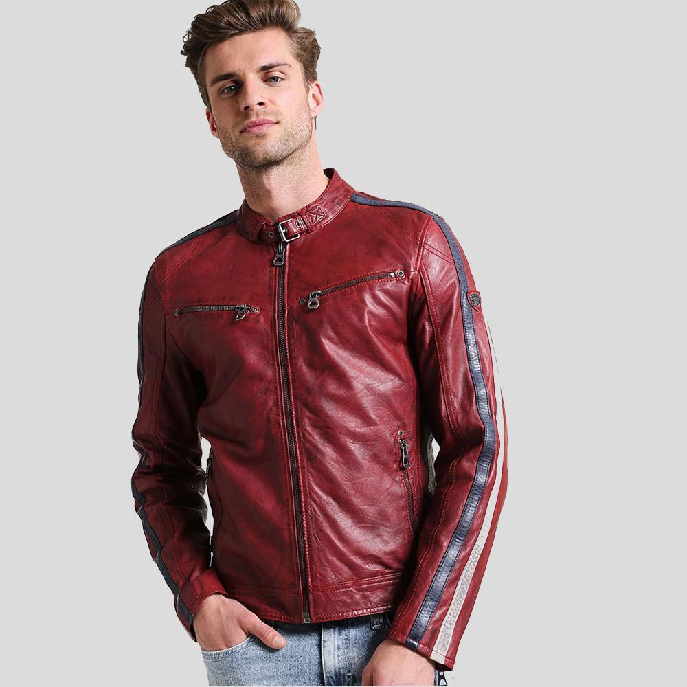 mens red cafe racer leather jacket liam 1