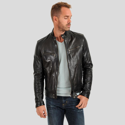 motorcycle leather jacket alan black 2