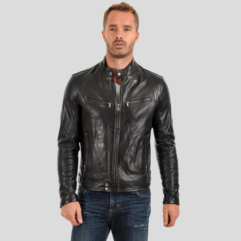motorcycle leather jacket alan black 1
