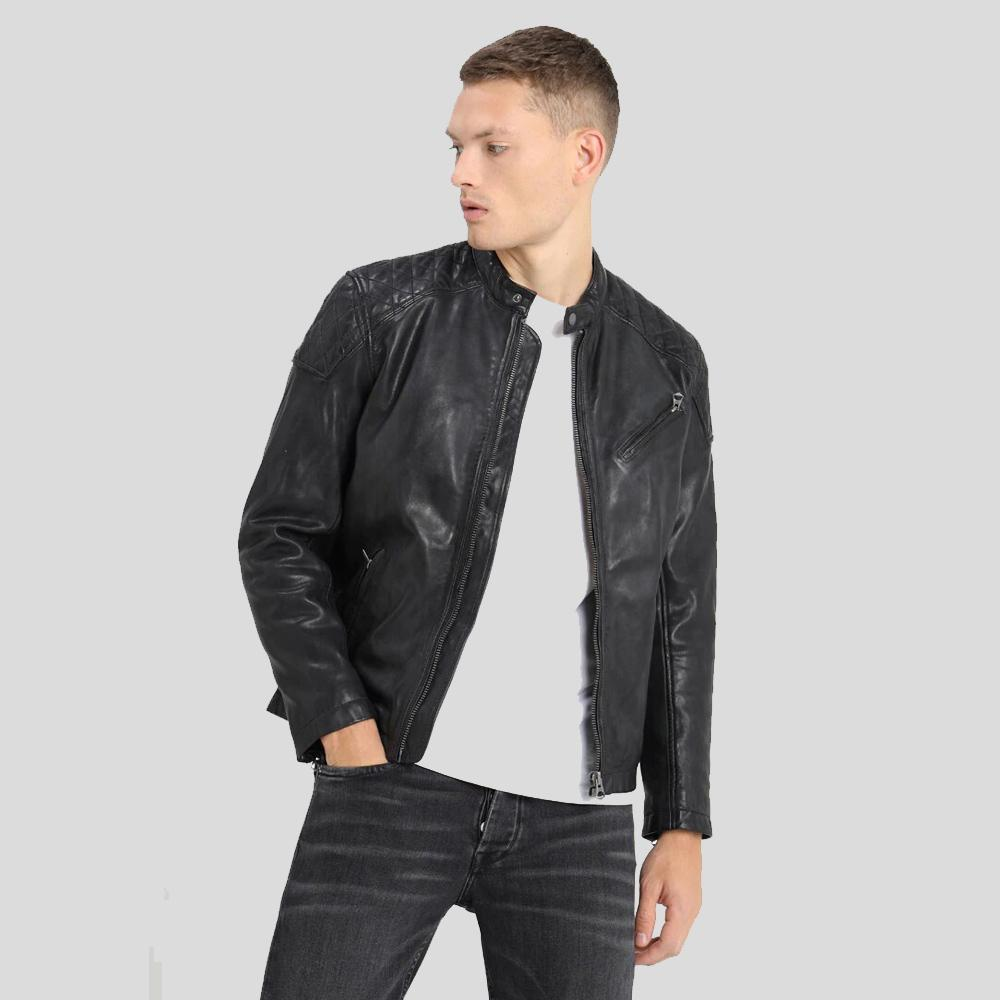 motorcycle leather jacket black charlie 1