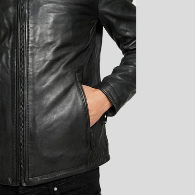 motorcycle leather jacket black derek 7