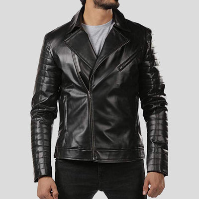 motorcycle leather jacket black lukas 1