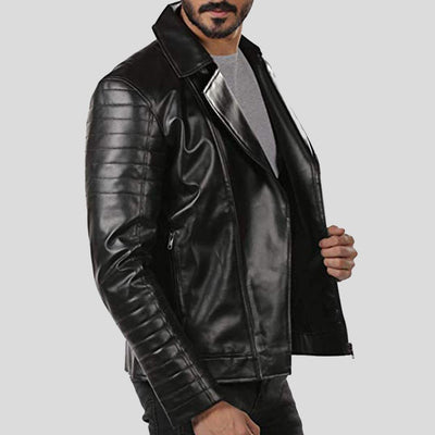 motorcycle leather jacket black lukas 3