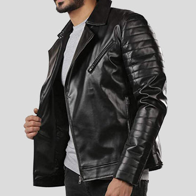 motorcycle leather jacket black lukas 2