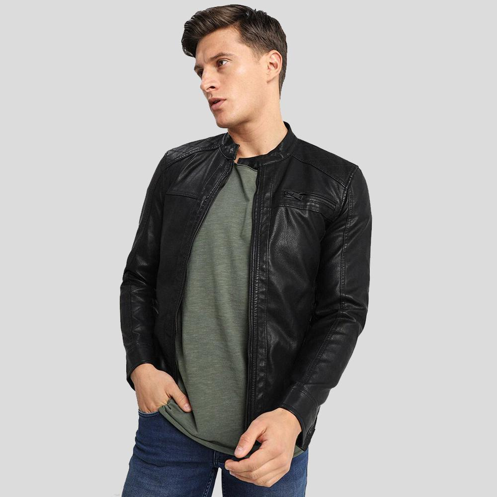 motorcycle leather jacket black riley 1
