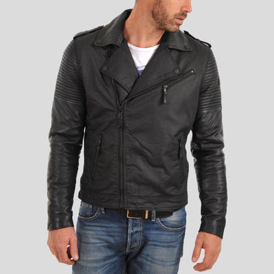 motorcycle leather jacket blake black 2